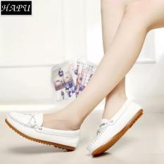 Giày lười nữ đế bệt thắt nơ đẹp HAPU (đen, trắng)