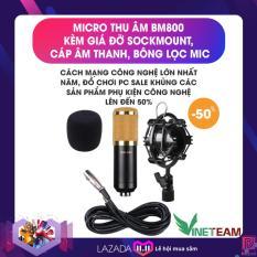 -Thương hiệu riêng- Micro Thu Âm VINETTEAM BM800 kèm Giá đỡ Sockmount , Cáp âm thanh, bông lọc mic (màu ngẫu nhiên)
