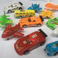 Bộ 12 xe mini chạy trớn cho bé (Xe đua, xe buýt, máy bay, trực thăng…)