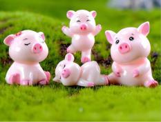 Bộ 05 mô hình chị em lợn hồng siêu cute để trang trí tiểu cảnh, bonsai