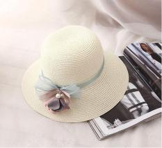 Nón cói đi biển thắt nơ đính hoa ly ly hàng Quảng Châu cói mềm thuận tiện gấp gọn