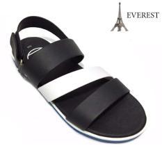 Giày Sandal 3 quai ngang nam thời trang Everest – EVE01 (Đen phối trắng) D37