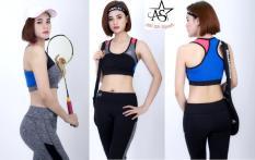 Bộ thể thao lửng nữ cao cấp phối lưới áo bra-DL07111