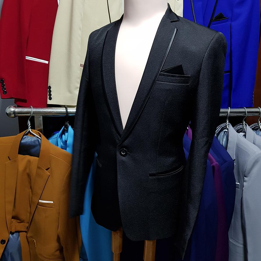 Bộ vest nam kiểu đen viền đen form ôm dáng chuẩn (áo + quần)