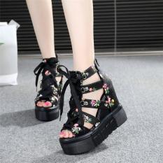 Giày Sandal hoa đế xuồng cao 11cm phong cách Hàn Quốc S087D (Đen)