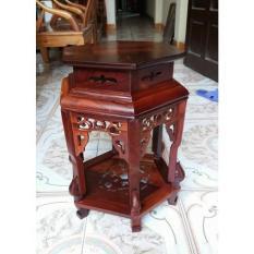 Đôn lục giác gỗ hương cao 60 cm măt 32 cm
