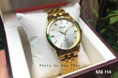 Đồng hồ nam Halei dây vàng mặt trắng,chống nước,chống xước.