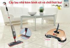 Bộ đôi vệ sinh nhà cửa Chổi Hút Bụi & Cây Lau Nhà Kèm Bình Xịt tiện lợi