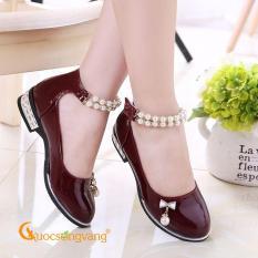 Giày bé gái dây đeo ngọc trai giày công chúa bé gái chống trượt đỏ GLG034
