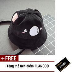 Nón vành hình gấu vải jean thời trang bé trai Flancoo 1711 (Đen) + Tặng kèm thẻ tích điểm Flancoo