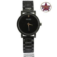 Đồng hồ nữ Guou GU871 đính đá thời trang – Dây đen mặt đen