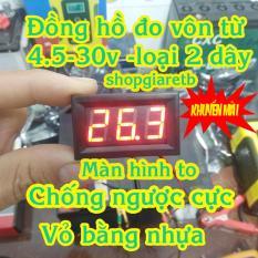 Đồng hồ đo vôn DC từ 4.5V -30V vỏ nhựa chống ngược cực – đồng hồ đo vôn bình acquy