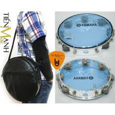 Combo Trống lắc tay và Bao đựng Lục Lạc Gõ Bo Tambourine Yamaha MT6-102B (Xanh Trong Suốt – Trống chơi nhạc chế gõ po – Xipo – Tặng móng gẩy Tiến Mạnh Music)
