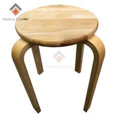 Ghế gỗ tròn chân dẹp (TỰ NHIÊN) – ghế phòng ăn, ghế cafe gỗ PHONG CÁCH