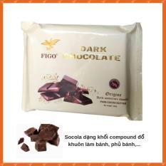 Sô cô la đen dạng khối đổ khuôn làm bánh 75% cacao Figo 500gram