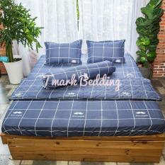 Bộ ga gối giường Cotton Poly Tmark (Caro xám)