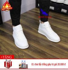 Giày Thể thao Sneaker Cao cổ Da PU CC-02 (Trắng + Đen+ Đỏ)