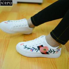 Giày Sneaker Nữ Thêu Hoa Hồng gót vàng đẹp (Trắng)