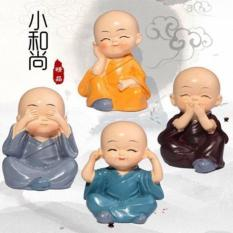 Bộ 4 Tượng Chú Tiểu Tứ Không Vui Vẻ – Không Nghe – Không Nói – Không Nhìn – Tâm Không Động, Làm Quà Tặng, Trang Trí Không Gian.
