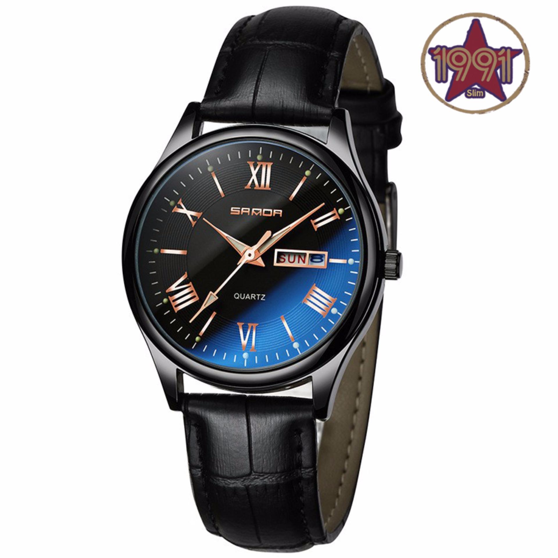 Đồng hồ nam dây da SANDA JAPAN Kính đổi màu cao cấp – mặt đen + Tặng kèm pin dự phòng