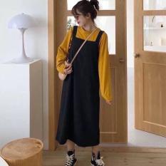 Set Áo Thun Trơn Kết Hợp Chân Váy Yếm Hàn Quốc Thời Trang Glamour WM VA 800010