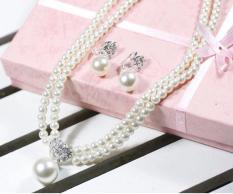 Bộ trang sức vòng cổ bông tai ngọc trai Kiểu Hàn Quốc
