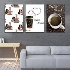 Bộ 3 tranh canvas trang trí quán coffe, phòng làm việc – khung hình phạm gia PGTK577