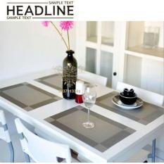 Bộ 4 khăn lót chén dĩa, lót bàn ăn, ly tách (Xám)