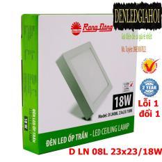 Đèn LED ốp trần vuông 18W Rạng Đông, Model D LN 08L 23×23/18w