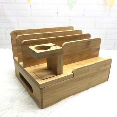 Giá đỡ điện thoại, ipad, đồng hồ bằng gỗ 4 ngăn B2