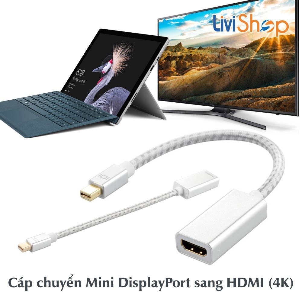 Cáp chuyển Mini Displayport (Thunderbolt) sang HDMI cái (Female) Support full HD 1080p / 4K / 2K (Silver – 23cm)