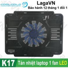 Đế tản nhiệt laptop COOLCOLD Thin Ice K17 1 quạt (Đen)