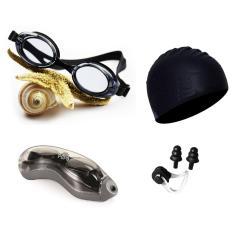 Kính bơi hiện đại 1153, mũ bơi trơn, bịt tai kẹp mũi POPO Collection mắt kính trong chống tia UV chống sương mờ