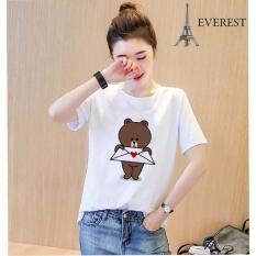 Áo thun nữ cổ tròn in hình gấu brown form rộng vải dày mịn AoK1616 Everest