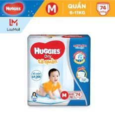 Tã/Bỉm Quần Huggies Dry Pants Super Jumbo M74 (Đệm Mây Co Giãn) – Gói 74 Miếng (Cho Bé 6Kg-11Kg)