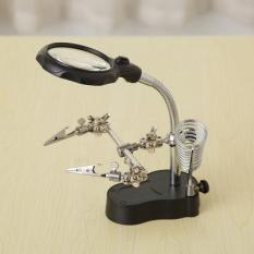 Kính lúp soi kẹp hàn mạch điện tử có đèn led (Đen)