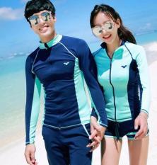 Đồ Bơi Tay Dài Nam – Nam Dây Kéo Xanh Phối Dạ