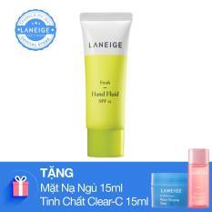 Kem dưỡng da tay ngăn ngừa lão hoá Laneige Fresh Hand Fluid 40Ml tặng kèm Mặt nạ ngủ 15ml và tinh chất vitamin chống oxi hóa Clear C 15ml