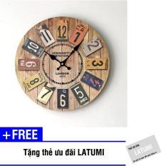Đồng hồ treo tường thời trang Latumi S2051 (Như hình) + Tặng kèm thẻ ưu đãi Latumi
