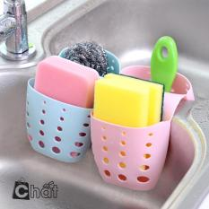 Giỏ nhựa 2 ngăn treo bồn rửa chén mới