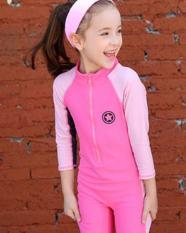 Đồ bơi chống nắng tay dài bé gái hồng ngôi sao nhỏ kèm nón (có size đại)