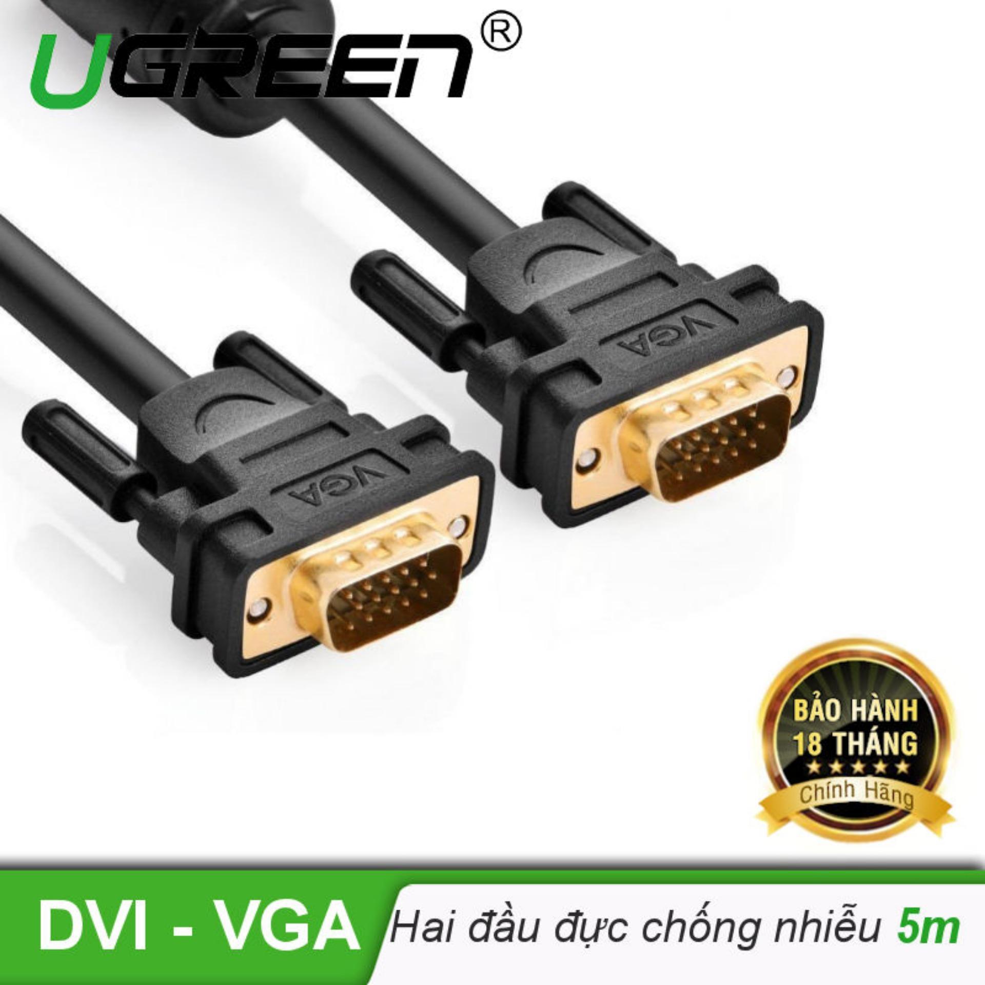 Dây cáp kết nối VGA HDB 15 đực sang HDB 15 đực dài 5M UGREEN VG101 11632 - Hãng phân...