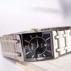 đồng hồ nam mặt vuông cao cấp,dây bạc mặt đen HL010 ,chống nước,chống xước tuyệt đối