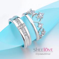 Nhẫn đôi xi bạc S925 Thời trang Hàn Quốc Chất lượng cao cấp freesize Giá sỉ Quà tặng Hộp Đẹp đính đá lấp lánh dễ thương (1 cặp 2 chiếc)