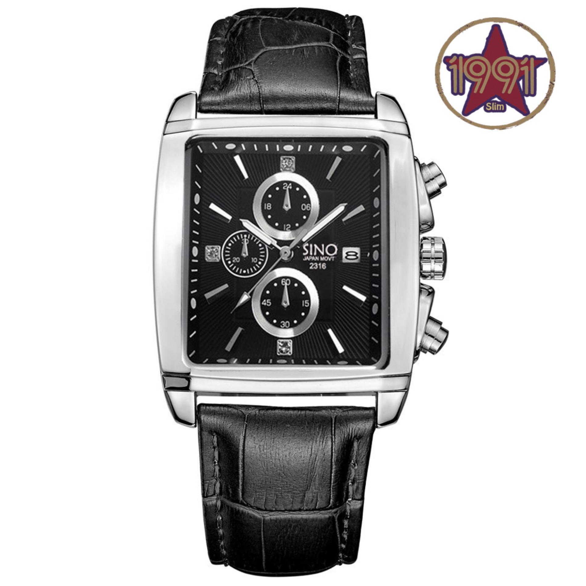 Đồng hồ nam dây da mặt vuông Sino Japan Movt S2316 dây đen mặt đen