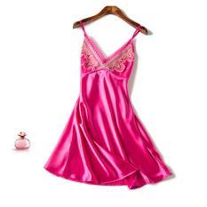 Đầm (Váy) ngủ 2 dây lụa bóng cao cấp ren ngực quyến rũ TPO-SX111
