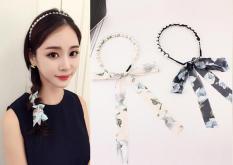 Băng đô đính ngọc trai phối dây dài buộc tóc phong cách Hàn Quốc nhẹ nhàng, nữ tính