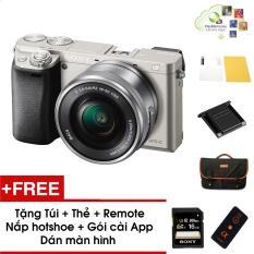 Máy ảnh Sony Alpha A6000 kèm Kit 16-50mm – Màu Bạc – Tặng thẻ nhớ + Túi + Dán màn hình + Remote + Gói cài app + Nắp hotshoe – Hàng phân phối chính hãng