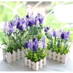 Giỏ cắm hoa lụa / chậu cắm hoa giả hàng rào gỗ độc đáo kích thước 16x7cm (không gồm hoa cỏ)