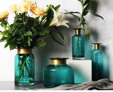 Set 4 lọ hoa trang trí cao cấp Blue viền vàng